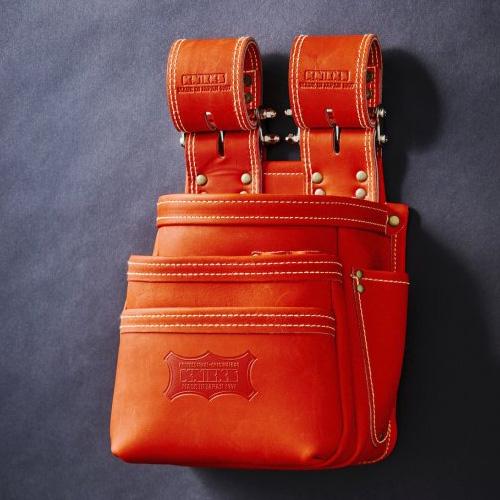 KGR-301DDX 限定赤グローブ革3段腰袋 チェーン式 赤 KNICKS(ニックス)