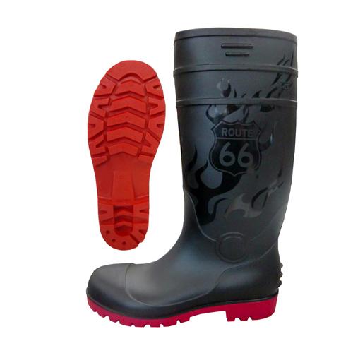 66-80 安全長靴 耐油底 抗菌 防臭 PVC ブラック ルート66