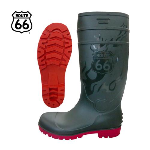 66-80 安全長靴 耐油底 抗菌 防臭 PVC グリーン ルート66